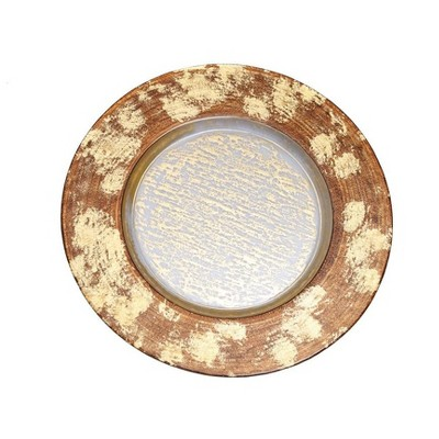 Classic Touch Set of 4 Gold Leopard Designed Chargers