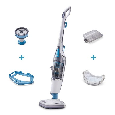 Black and Decker Washable HEPA Filter Corded Dual Steam Mop and Upright Vacuum Carpet Floor Cleaner Combination Duo, White