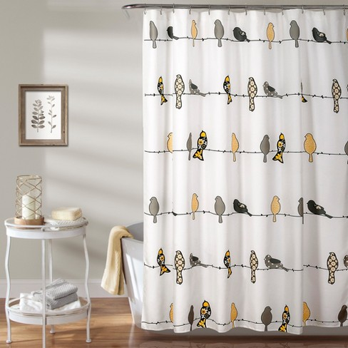 Lush Decor Bird Shower Curtain Yellow
