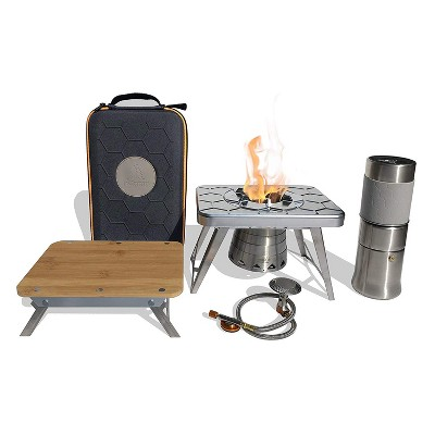 nCamp K2G Basic 5 Piece Compact Cooking Stove, Prep Surface Board, Cafe, and Case Outdoor Camping Set Bundle