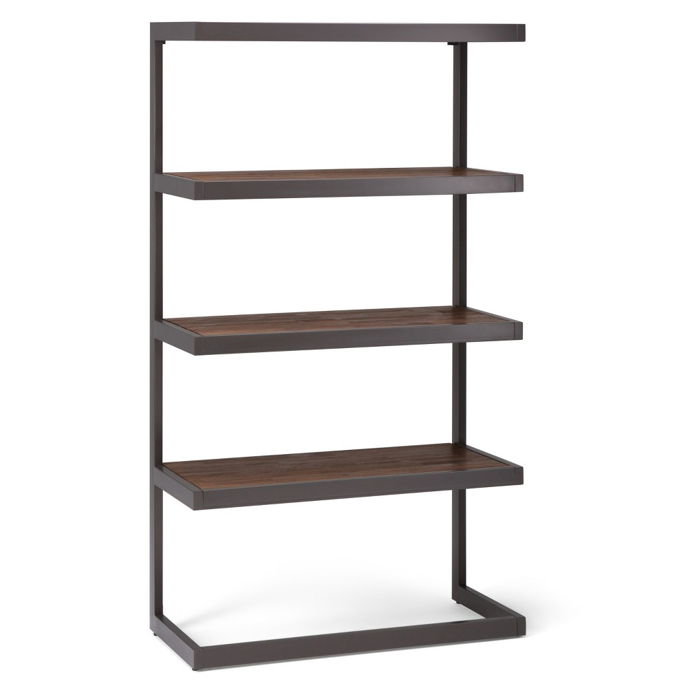 Cecilia Solid Acacia Wood Bookcase Rustic Natural Aged Brown - Wyndenhall