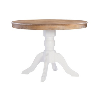 Tobin Pedestal Dining Table White/Natural - Linon