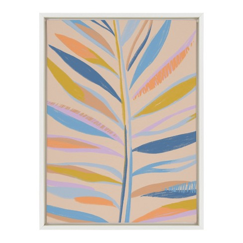 "18"" x 24"" Sylvie Rainbow Palms Framed Canvas By Kasey Free White - DesignOvation - image 1 of 4"