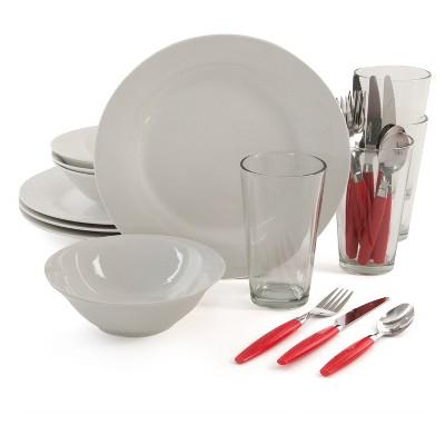 Gibson Total Kitchen Ceramic 24pc Dinnerware Combo Set White/Red