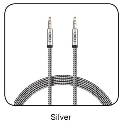 6 Ft. 2-Tone Braided Auxiliary Cable-SILVER