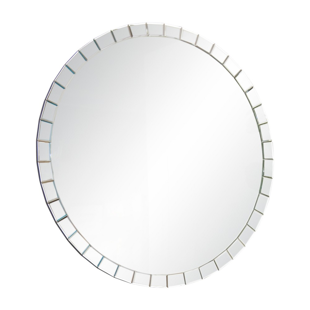 "Image of ""Abbyson Living 39""""x39"""" Cassandra Round Wall Mirror Silver"""