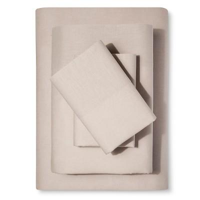 Washed Linen Cotton Blend Sheet Set (Queen)Khaki - Loft New York