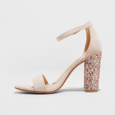 a34b60817 Women s Ema Glitter Satin High Block Heel Pump Sandal - A New Day™ Rose Gold  7.5   Target