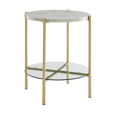 """20"""" Glass and Faux Marble Glam Round Side Table - Saracina Home"""