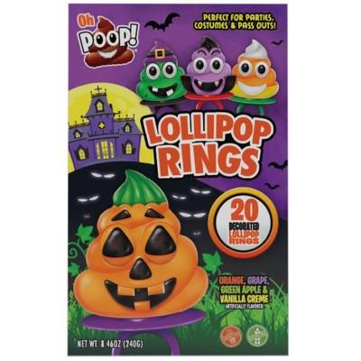 Flix Candy Oh Poop! Halloween Lollipop Rings - 8.46oz/20ct