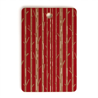 Lisa Argyropoulos Modern Trees Red Cutting Board Rectangle - Deny Designs