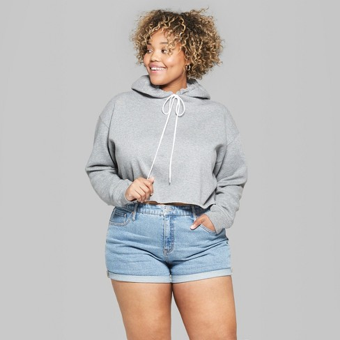 72657a7478845 Women s Plus Size Hooded Cropped Sweatshirt - Wild Fable™ Heather Gray    Target