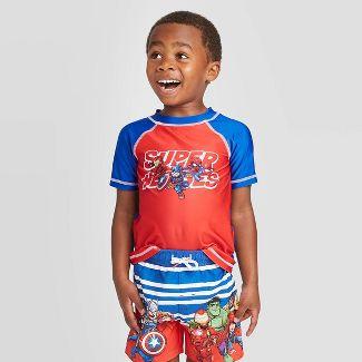 Toddler Boys' Avengers 'Superheroes' Rash Guard Swim Shirt - Red/Blue 2T