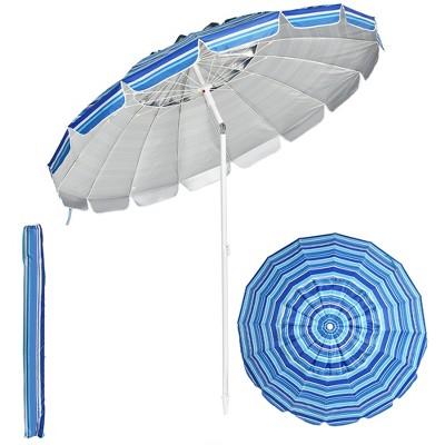 Costway 8 FT Beach Umbrella Outdoor Tilt Sunshade Sand Anchor W/Carry Bag