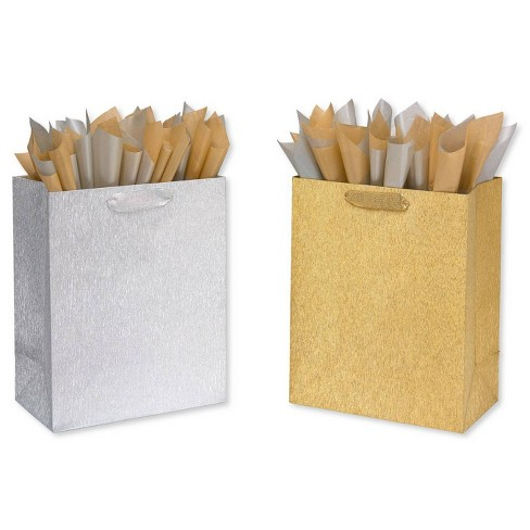 Large Papyrus Brushed Metallic Gift Bag and Tissue Paper Silver and Gold - image 1 of 3