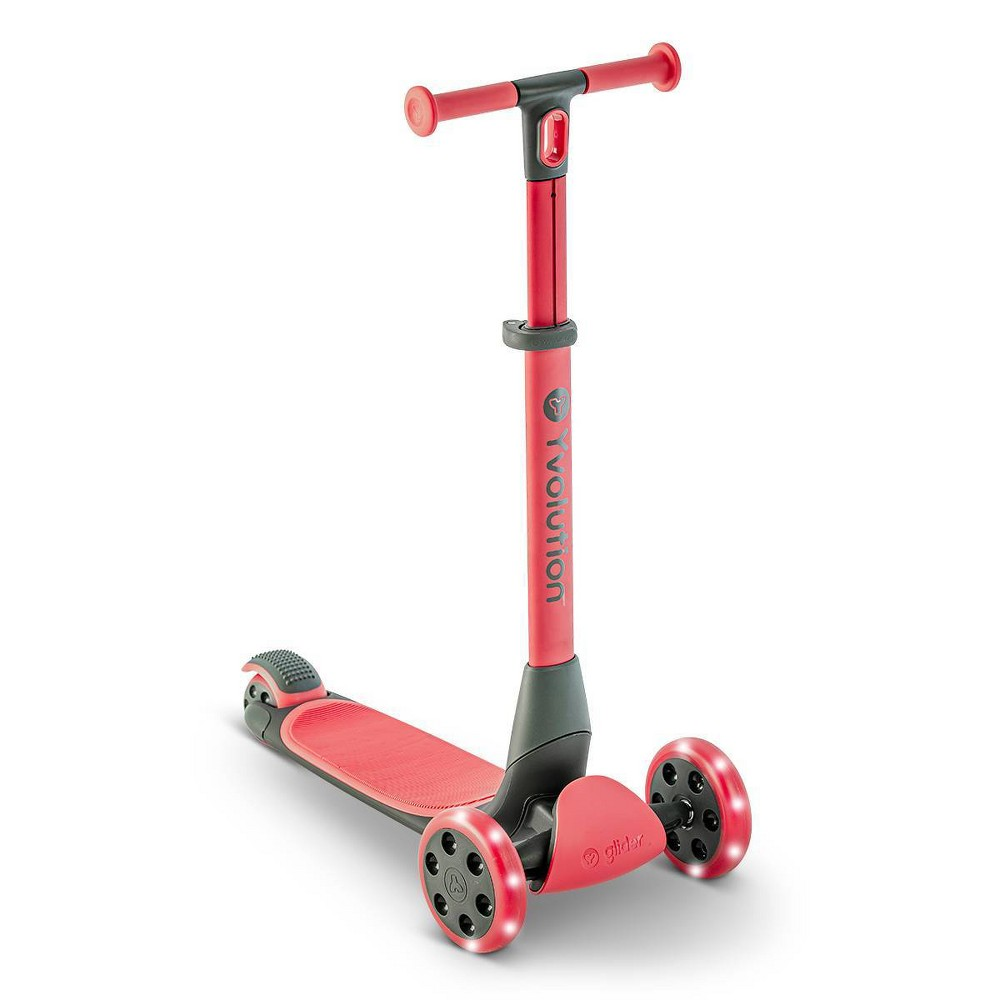 Y Volution Y Glider Nua 3 Wheel Kick Scooter With Led Lights Red
