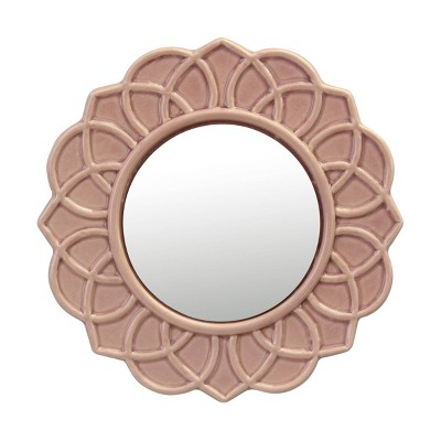 """9"""" Round Floral Ceramic Wall Hanging Mirror Pink - Stonebriar Collection"""