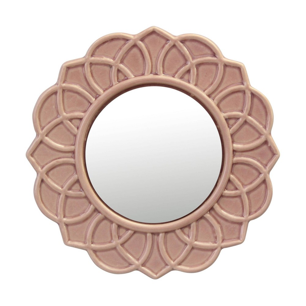 Image of Round Floral Ceramic Decorative Wall Hanging Mirror Pink - Stonebriar Collection