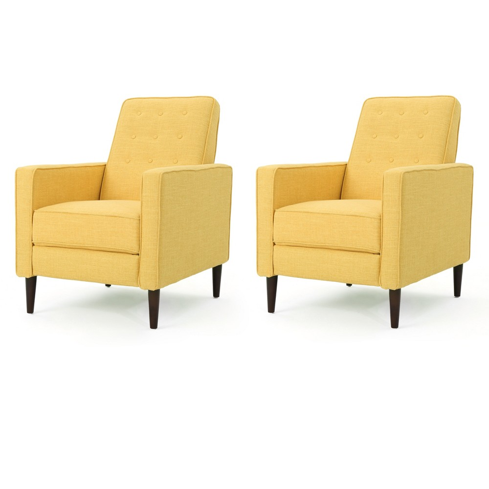 Set Of 2 Mervynn Mid Century Recliner Muted Yellow Christopher Knight Home