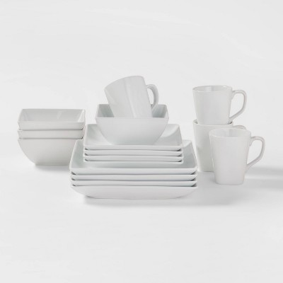 Square Rim Porcelain 16pc Dinnerware Set - Threshold™