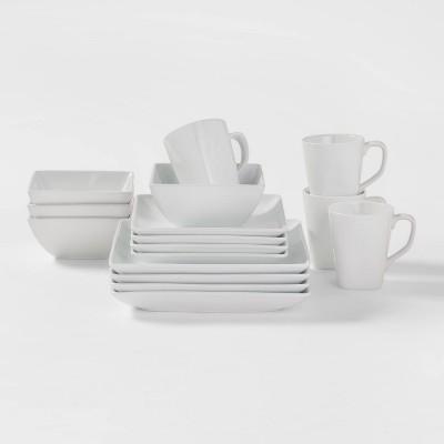 Square Rim Porcelain 16pc Dinnerware Set - Threshold™