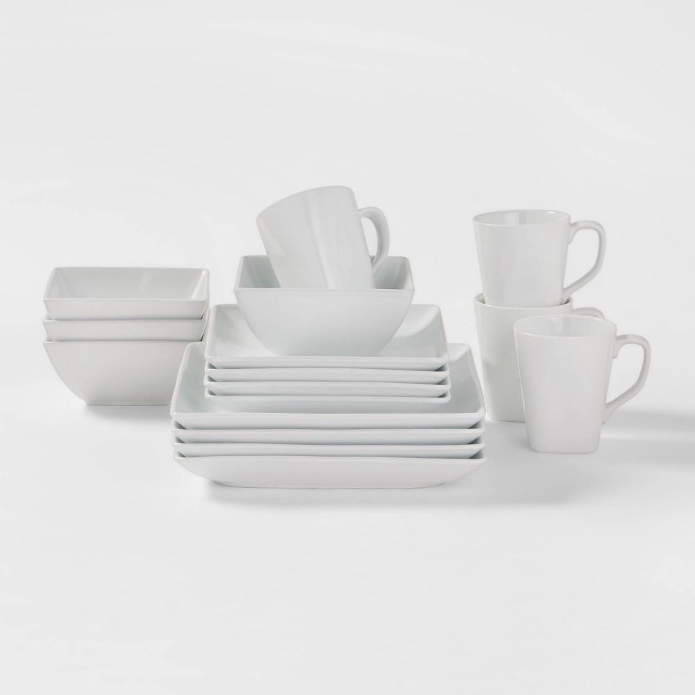 Square Rim Porcelain 16pc Dinnerware Set - Threshold Price