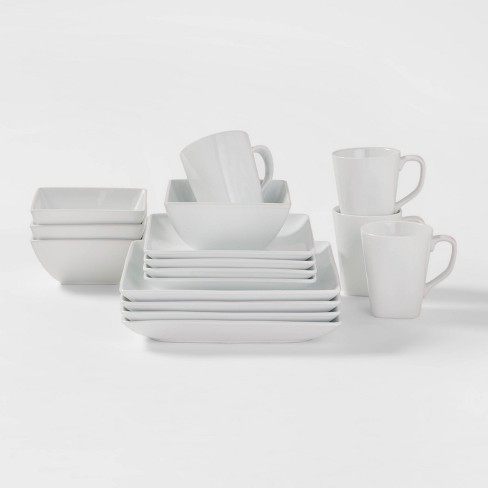 Square Rim Porcelain 16pc Dinnerware Set - Threshold™ - image 1 of 4