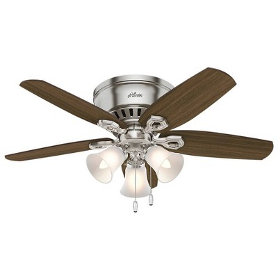 "42"" LED Builder Low Profile Ceiling Fan (Includes Energy Efficient Light Bulb)Nickel - Hunter"