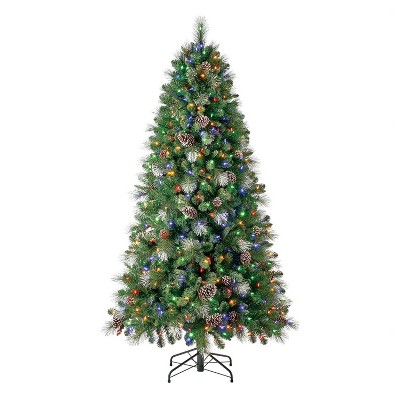 Home Heritage Lincoln 7 Foot Prelit Artificial Christmas Tree with Multicolored Lights, Pine Cone, and Silver Glitter