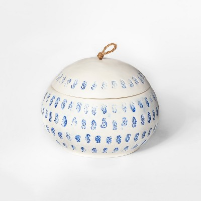 6.7  x 5.2  Decorative Block Print Canister White/Blue - Threshold™