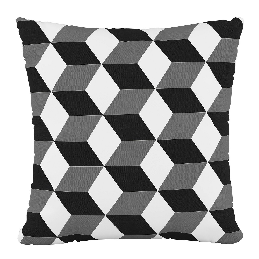 """Image of """"18""""""""x18"""""""" Polyester Pillow in Shaded Block Gray - Cloth & Company"""""""