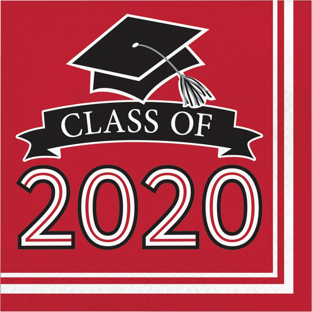 Image of 108ct Class Of 2020 Grad Napkins Red