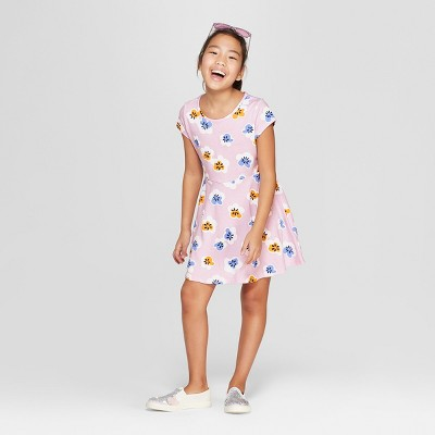 27dfbeda6a28 Girls  Short Sleeve Floral A Line Dress - Cat   Jack™ Purple