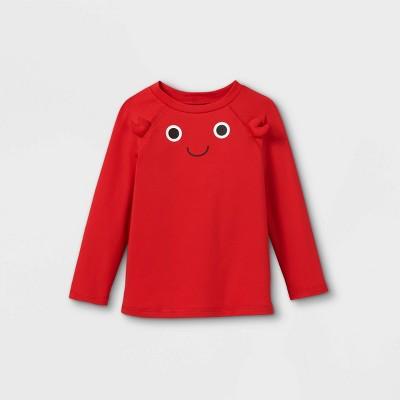 Toddler Boys' Crab Face Long Sleeve Rash Guard Swim Shirt - Cat & Jack™ Red