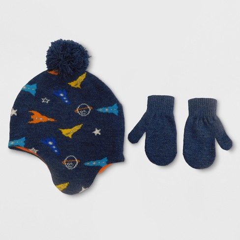 Bioworld Baby Boys' Rocketship Hat and Mitten Set with Fleece Lining - Blue 12-24M - image 1 of 1