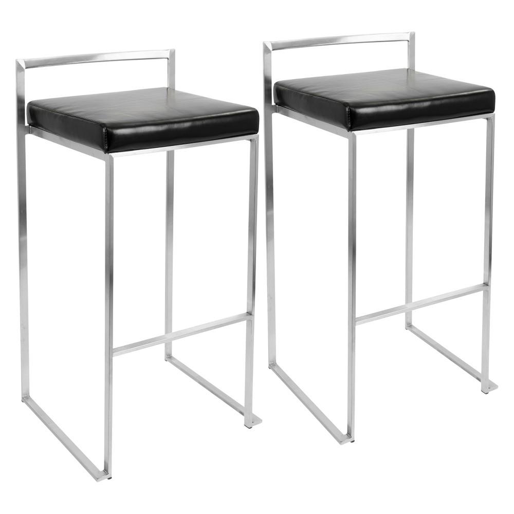 Set of 2 30 Fuji Stacker Barstools Metal/Black - LumiSource Coupons