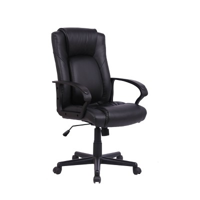 Adjustable Office Chair with Expandable Back Support Black - WOVENBYRD