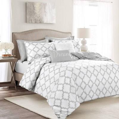 King 7pc Ravello Pintuck Caroline Gro Comforter Set Gray - Lush Décor
