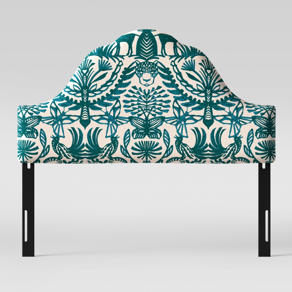 Full Zinnia Arched Headboard Teal & Cream Animal Print - Opalhouse