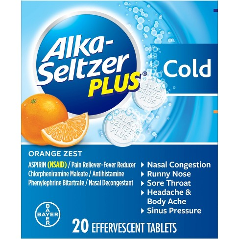 Alka-Seltzer Plus Cold Relief Effervescent Tablets - Aspirin (NSAID) - Orange Zest - 20ct - image 1 of 4