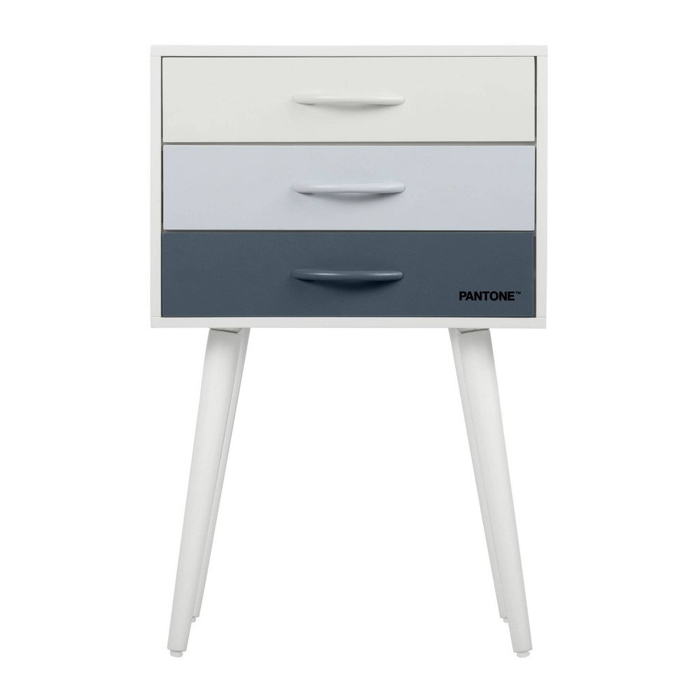 Image of Pantone Color Collection 3-Drawer Accent Table Blue Ombre - Pantone, Blue White