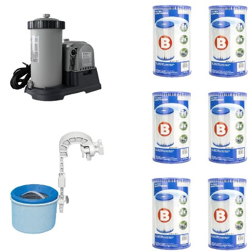 Intex Pool Pump w/ Wall Mount Automatic Skimmer and Intex Pool Filters (6 Pack) - image 1 of 4
