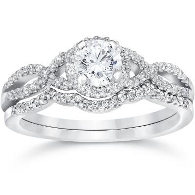 Pompeii3 3/4ct Diamond Infinity Engagement Wedding Ring Set White Gold