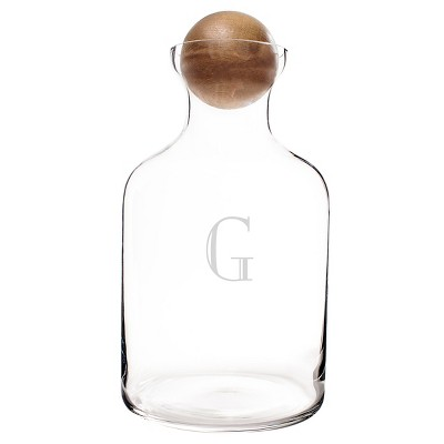 56oz Glass Personalized Initial Decanter with Wood Stopper - Cathy's Concepts