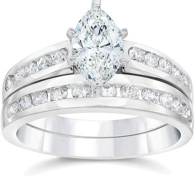 Pompeii3 2 Carat Marquise Enhanced Diamond Engagement Wedding Ring Set White Gold 14karat