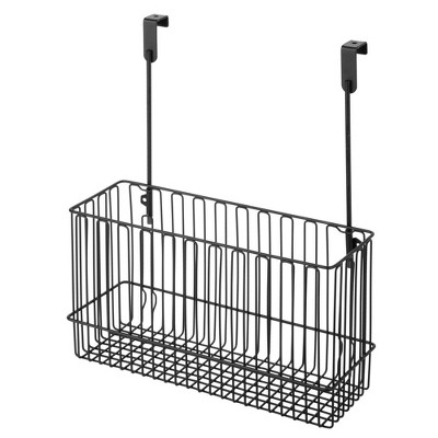 mDesign Metal Hanging Over Cabinet Kitchen Storage Organizer Basket
