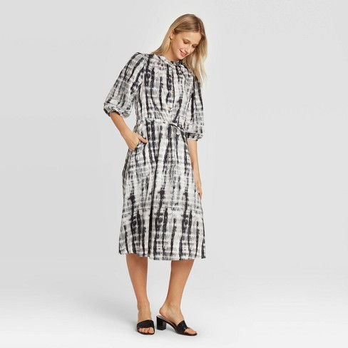 Women's Puff Elbow Sleeve Collared Midi Shirtdress - Who What Wear™ Black XXL - image 1 of 3
