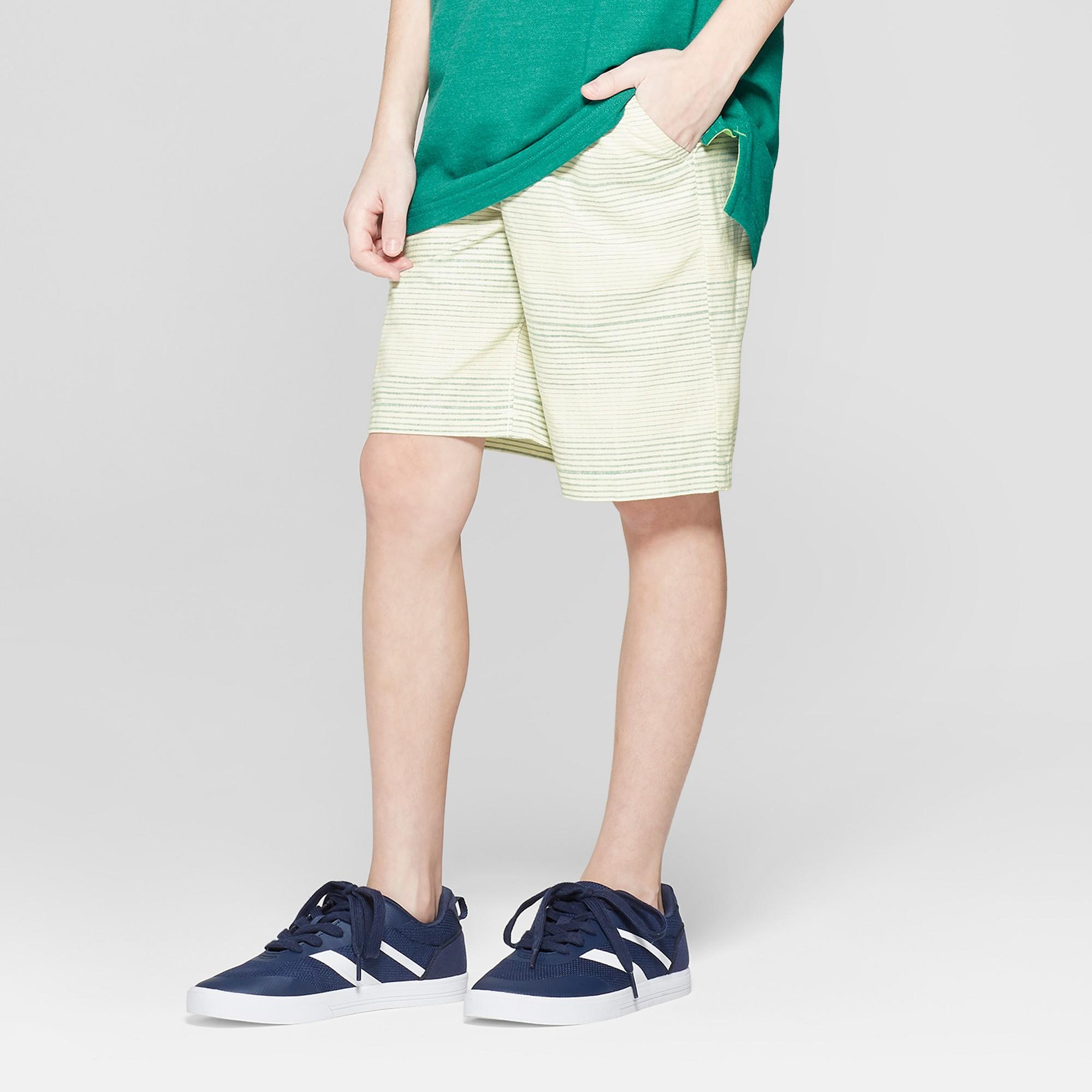 Boys' Striped Pull-On Shorts - Cat & Jack Light Green Xxl