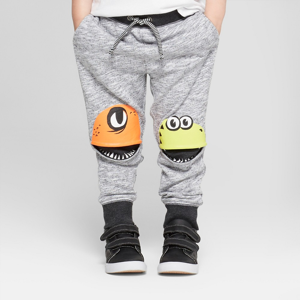 Toddler Boys' Jogger Pants with Monster Knee Hits - Cat & Jack Gray 3T