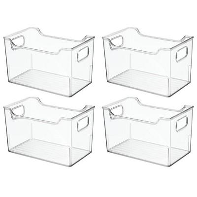 mDesign Large Plastic Home Office Desk Storage Organizer Bin, 4 Pack - Clear